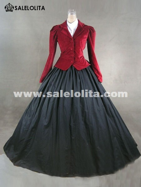 Top Sale Wine Red and Black Marie Antoinette Masked Ball Victorian Dress Long Party Dress