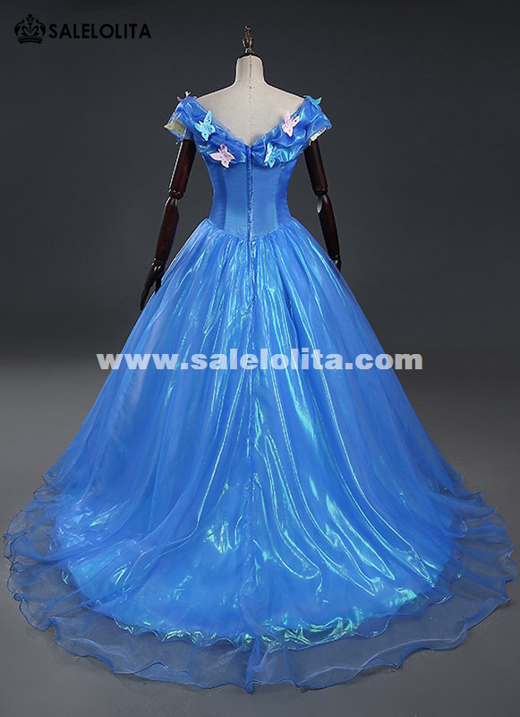 Brand New Blue Adult Gorgeous Cinderella Dress Women Princess Cinderella Halloween Cosplay Party Dress With Long Tail