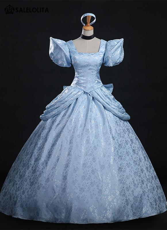 High Quality Disney Cinderella Costume Brocade Printed Princess Cinderella  Dress For Women
