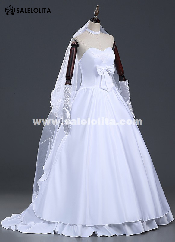 brand new amine fatezero saber cosplay wedding dresses