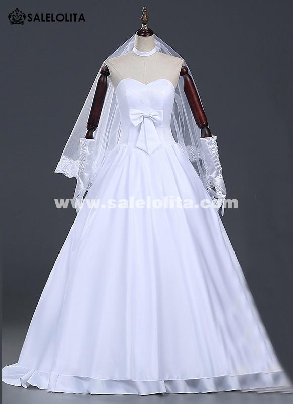 brand new amine fatezero saber cosplay wedding dresses