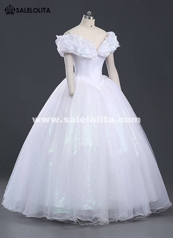 Brand New Women Princess Cinderella Cosplay Costume White Adult Cinderella Wedding Dress