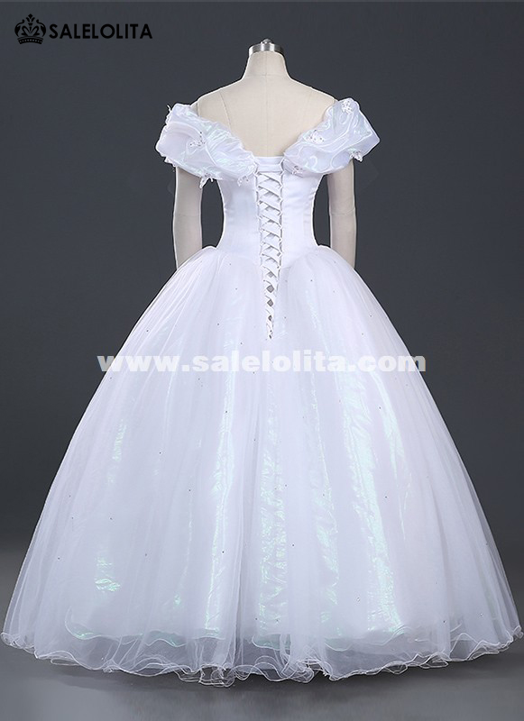 New Women Princess Cinderella Cosplay Costume White Adult Cinderella ...
