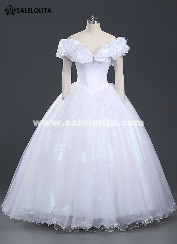 Brand New Women Princess Cinderella Cosplay Costume White Wedding Dress