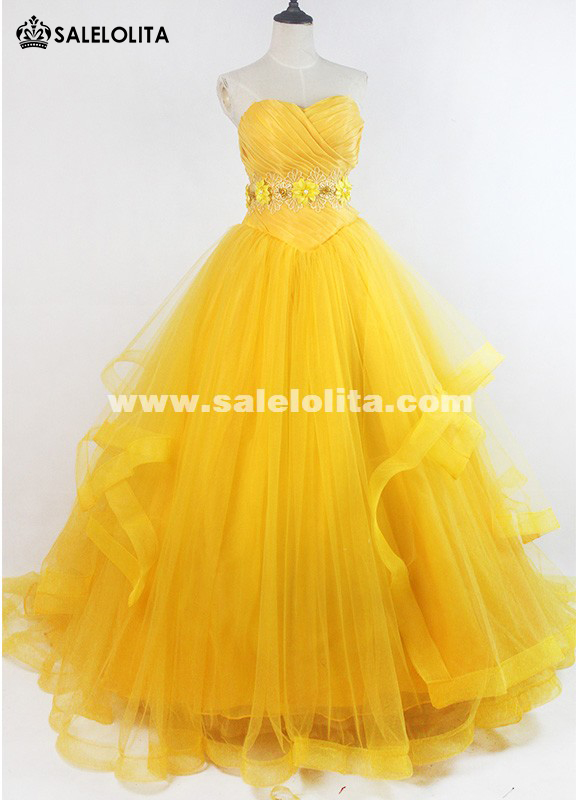 2019 High-end Moive Beauty and the Beast Cosplay Costume Yellow Strapless Adult Belle Princess Dresses With Long Tail