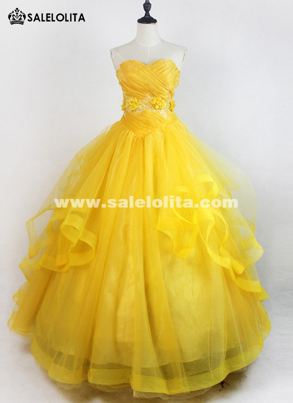2017 Brand New Yellow Strapless Moive Beauty and the Beast Cosplay Costume Adult Belle Princess Dresses