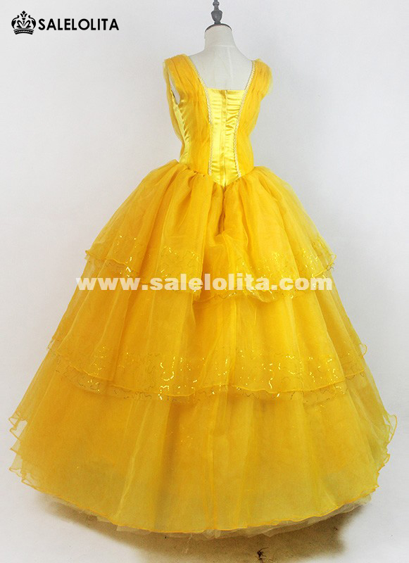 2019 High-end Moive Beauty and the Beast Cosplay Dress Adult Yellow Princess Belle Dresses For Women