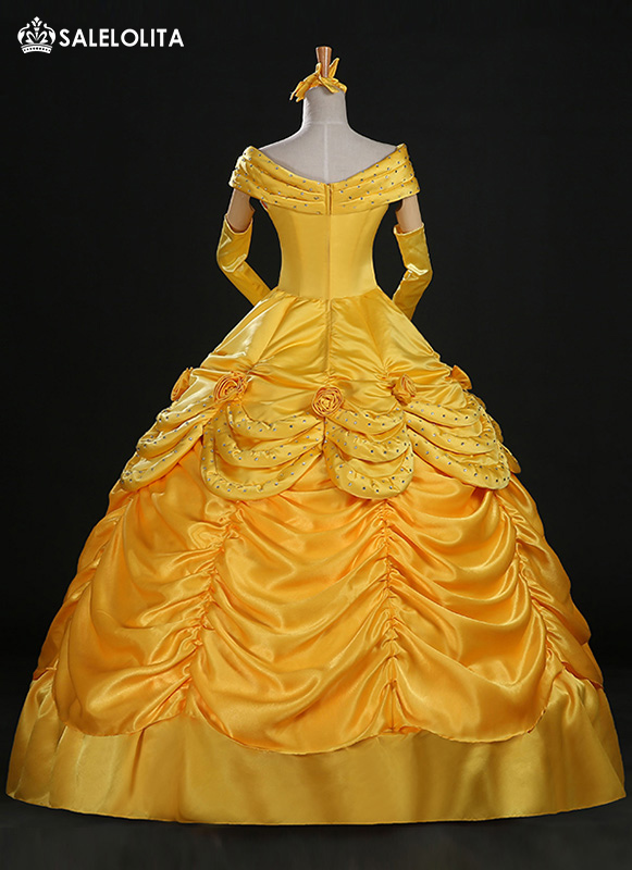 2017 High End Adult Yellow Moive Beauty And The Beast Cosplay Costume Women Belle Princess Dresses
