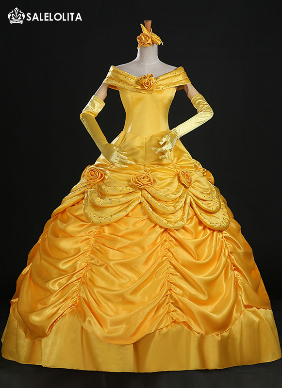 2019 High-end Adult Yellow Moive Beauty and the Beast Cosplay Costume Women Belle Princess Dresses