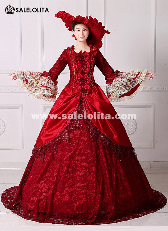 Marie Antoinette Wedding Dress Rococo Queen Stage Party Banquet Burgundy Gowns
