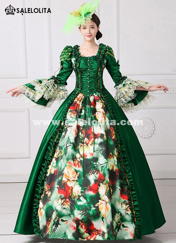 Fairy Princess Stage Party Gown Medieval Queen Green Dress Christmas Historical Costume