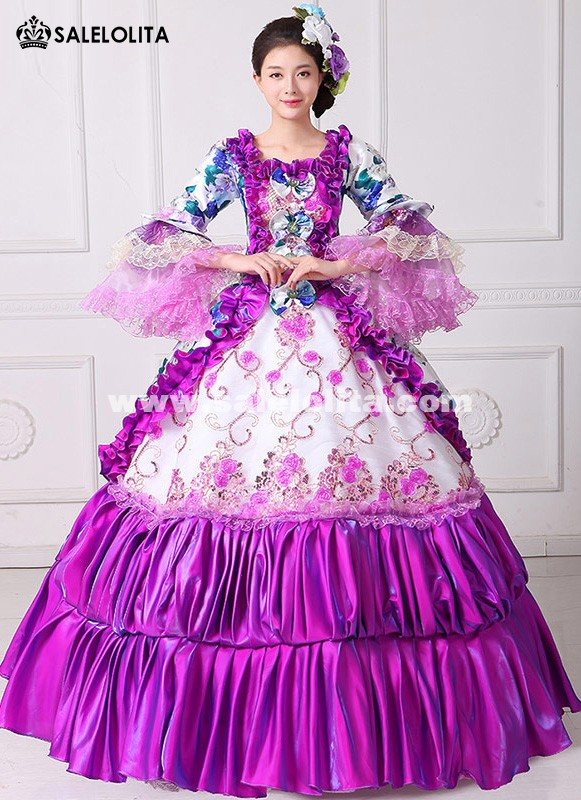 Brand New Purple Floral Printed Rococo Marie Antoinette Dresses Southern Belle Masquerade Ball Costumes Theatre Clothing