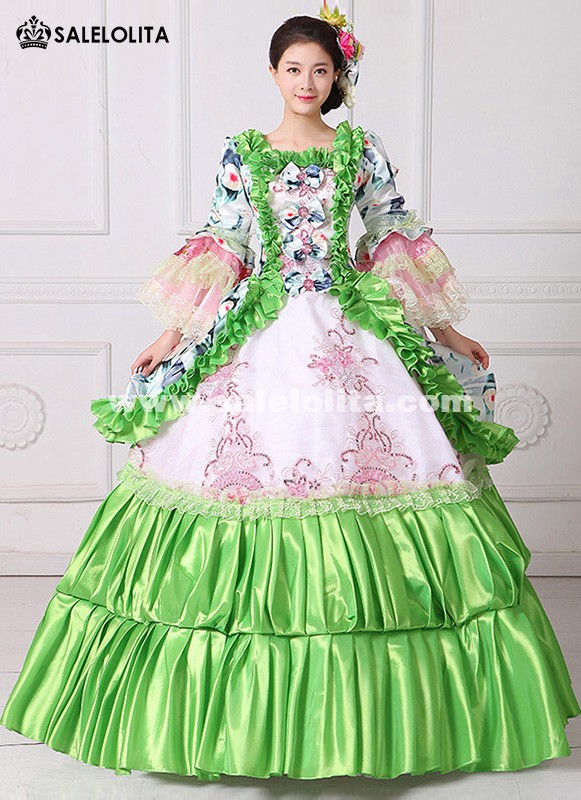 New Green Floral Printed Masquerade Ball Gown Southern Rococo Belle Marie Antoinette Dress Reenactment Theatrical Clothing Vestido