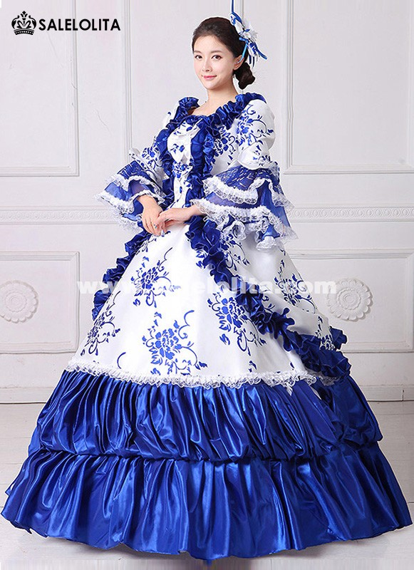 b304d19170c9 Brand New Blue Lace Printed Marie Antoinette Masquerade Ball Gown Medieval  Southern Rococo Belle Dress Theatrical Clothing