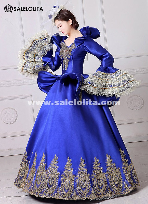 Royal Blue Embroidery Vampire Queen Masquerade Ball Gown Marie Antoinette Southern Belle Dress Theatrical Clothing