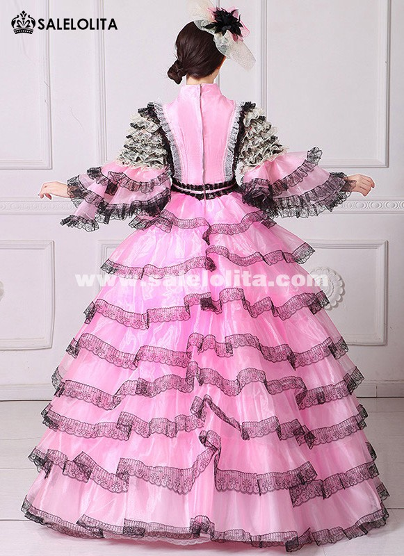 Pink And Black Lace Vampire Masquerade Ball Gown Civil War