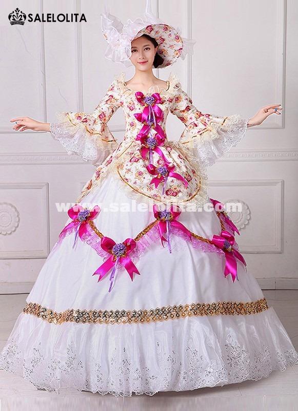 Brand New Floral Renaissance Civil War Southern Belle Dress 18th Century Marie Antoinette Masquerade Ball Theatre Costumes