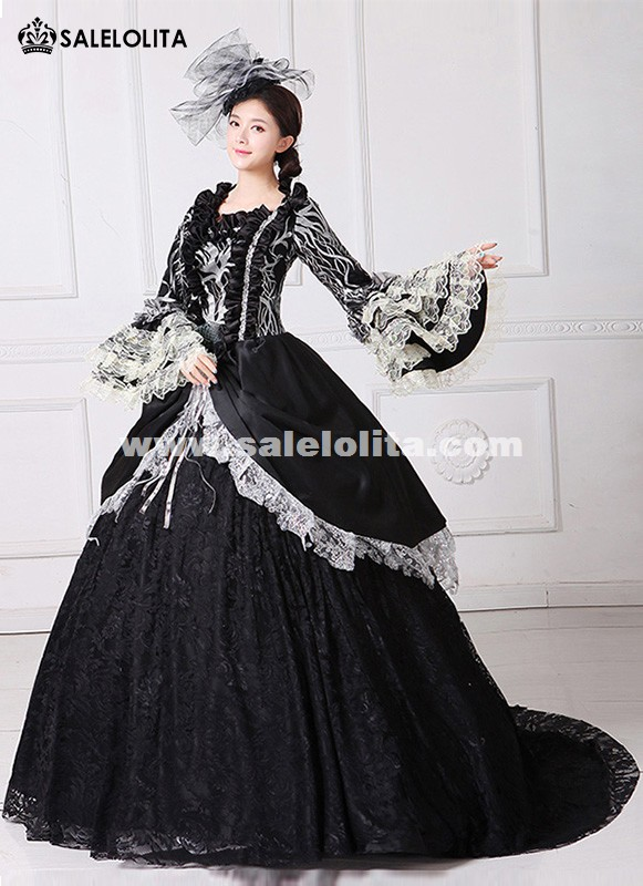 Brand New Black Printed Marie Antoinette Dress 18th Century Civil War Southern Belle Ball Gown With Train Theatre Costume