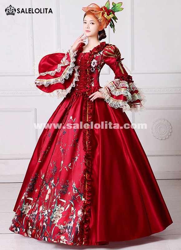 Brand New Red Lace Printed Marie Antoinette Dress Southern Belle ...