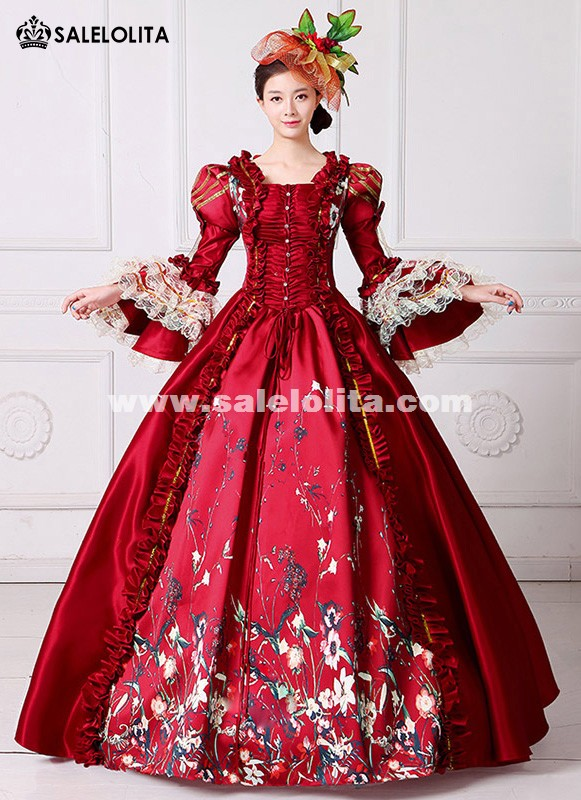 Brand New Red Lace Printed Marie Antoinette Dress Southern Belle Victorian Period Ball Gown Reenactment Clothing