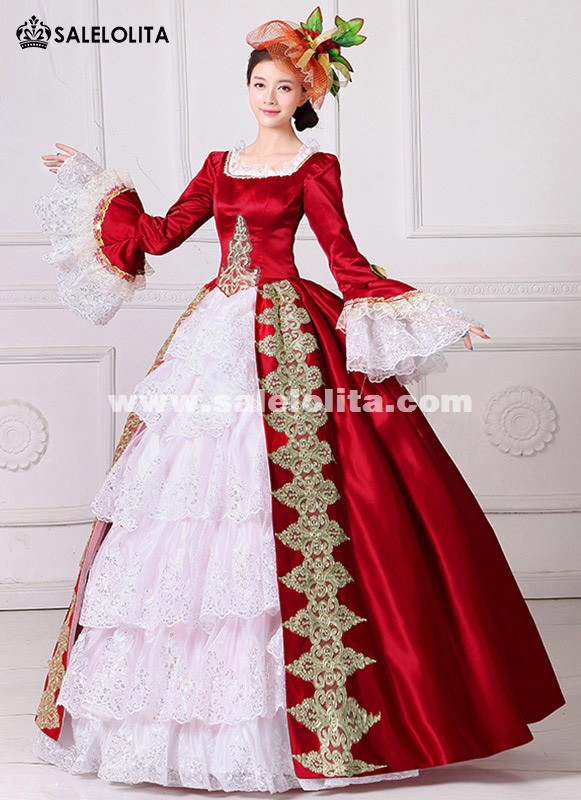 Brand New Red Embroidery Marie Antoinette Dress Civil War Southern ...