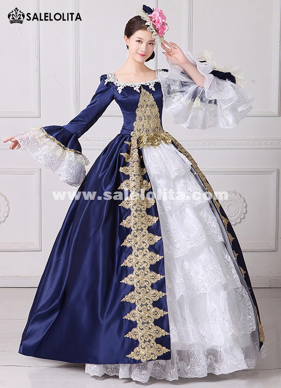 Brand New Blue Embroidery Marie Antoinette Ball Gowns Civil War ...