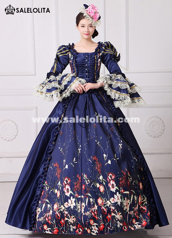 Brand New Vintage Dark Blue Lace Printed Marie Antoinette Dress Civil War Southern Belle Gown Women Reenactment Clothing