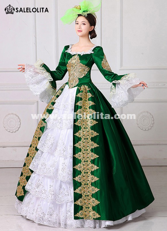 2017 Royal Green Embroidery 18th Century Costume Renaissance Civil War Southern Belle Dress Marie Antoinette Theatrical Costume