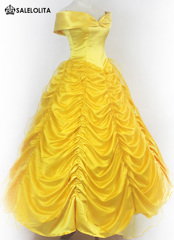 Women Yellow Moive Beauty and the Beast Cosplay Dress Belle Princess Costume