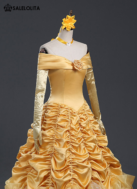 High Quality Adult Belle Princess Costume Yellow Moive Beauty and the Beast Cosplay Dresses For Women