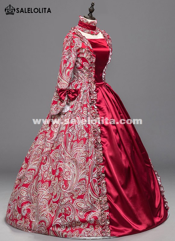 Red Floral Victorian Southern Belle Westworld Gown