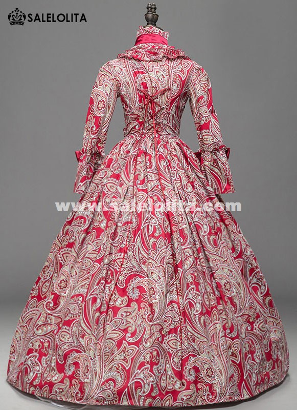 Red Floral Victorian Southern Belle Westworld Gown Medieval Renaissance Dress Theatre Halloween Costume