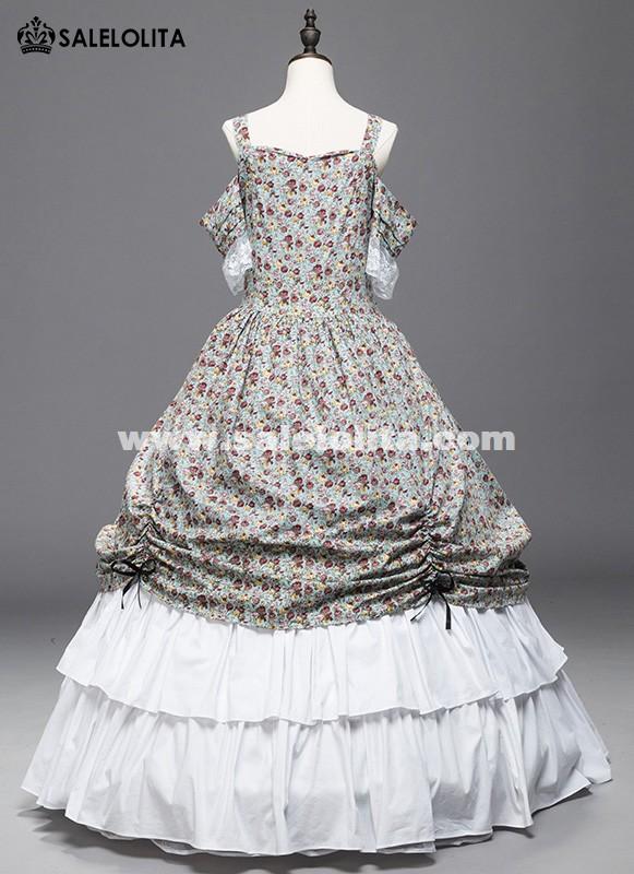 Victorian Civil War Floral Dress Ball Gown Medeival Rennaissance ...