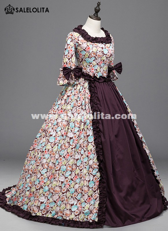 Civil War Southern Belle Floral Westworld Gown Medeival Renaissance Victorian Dress Reenactment Clothing Halloween Costume