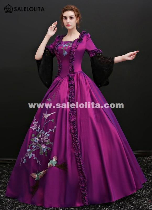 Medieval Marie Antoinette Purple Gowns Princess Vintage Wedding