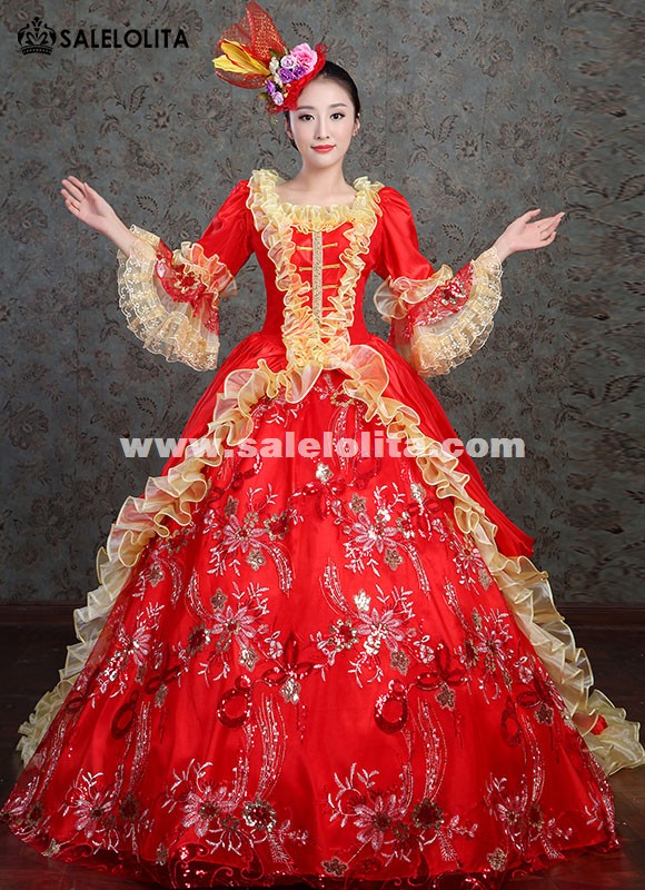 Medieval Wedding Gowns Rococo Princess Red Dresses Victorian Theater Clothing