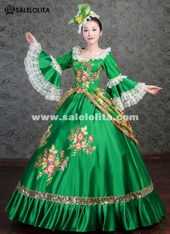 Victorian Masquerade Gown Southern Belle Green Gown Princess Floral ...
