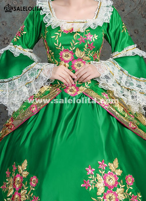 Victorian Masquerade Gown Southern Belle Green Gown Princess Floral Ball Gown Dress