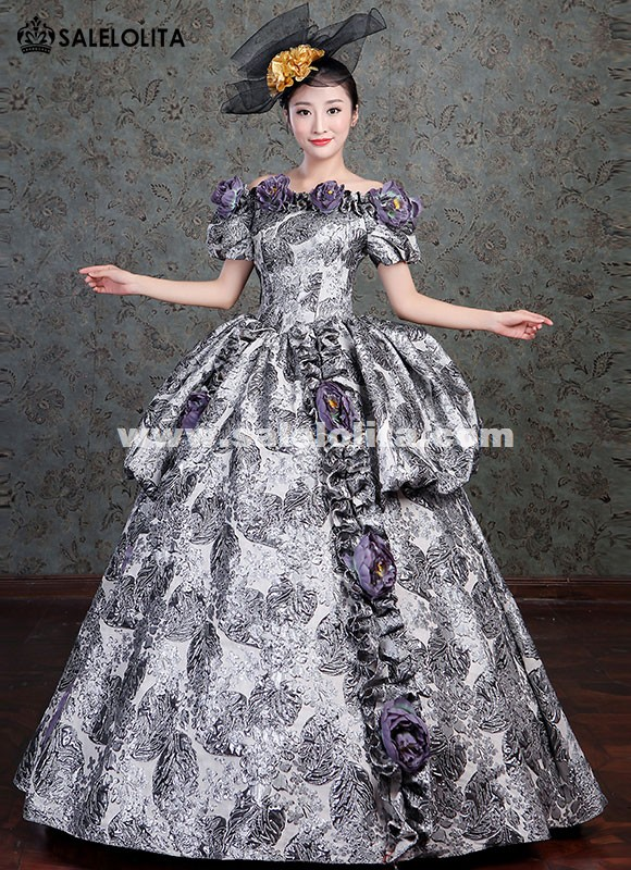 Gothic Victorian Civil War Floral Ball Gown Vintage Masquerade Dress Princess Theatre Clothing