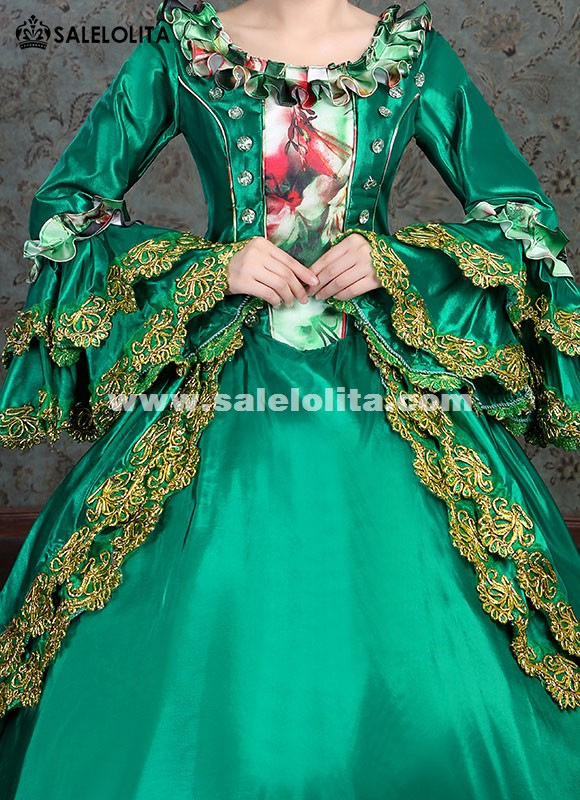 Southern Belle Civil War Dress Marie Antoinette Gown Masquerade Party Dress Women Green Theater Clothing