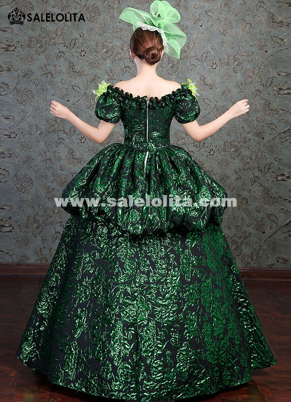 Upscale Marie Antoinette Gowns Victorian Vintage Green Dress Medieval Wedding Party Gown