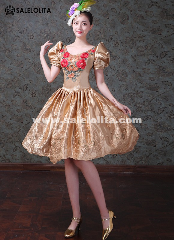 Upscale Mini Ballet Costume Princess Gold Short Gowns Girls Birthday Dress