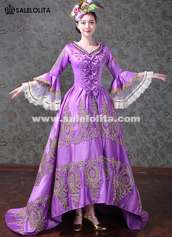 Women Masquerade Dovetail Long Dress Medieval Wedding Lace Gowns