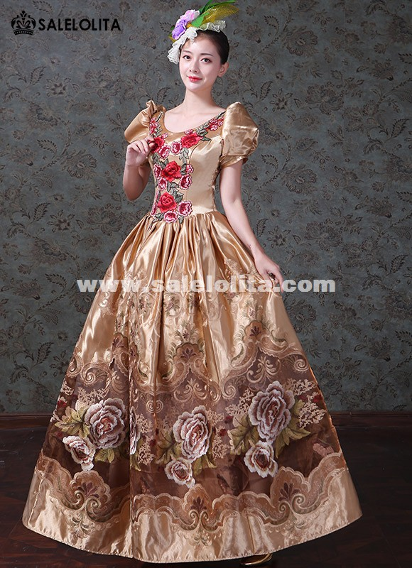Upscale Masquerade Princess Gold Gowns Medieval Wedding Sparkle Gown