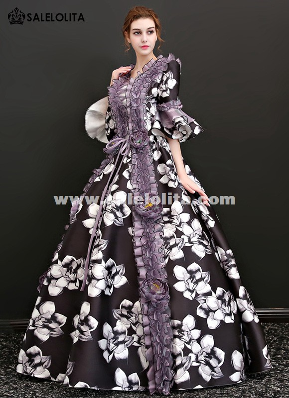 Victorian Renaissance Floral Dress Ball Gown Black Princess Prom Reenactment Clothing