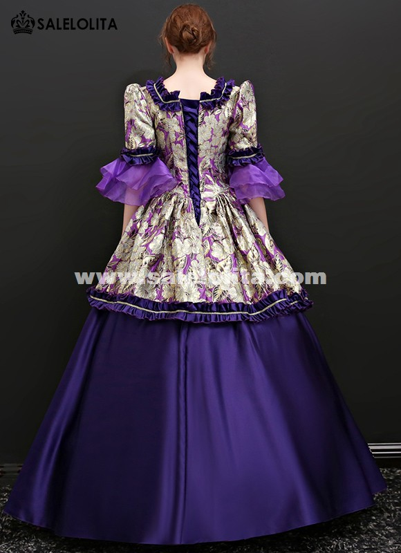 Medieval Gothic Purple Gowns Theatrical Clothing Marie Antoinette Dress