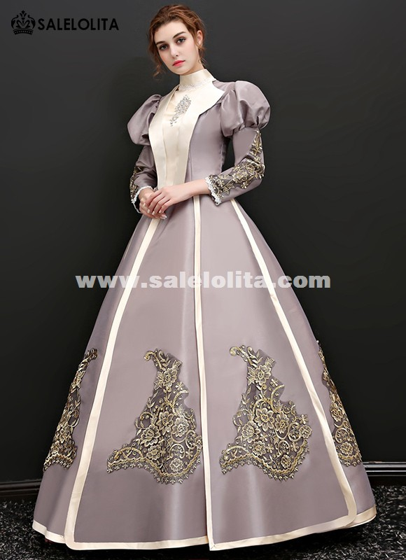 Snow White Princess Party Puff Sleeve Dress Victorian Queen Theater Stage Clothing