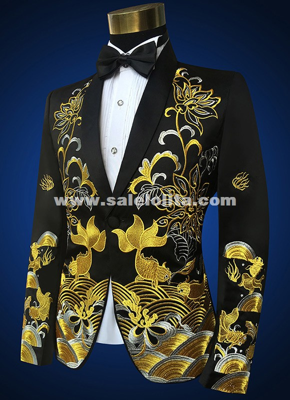 Gold Embroidery Mens Black Red Wedding Suit Jacket Fashion
