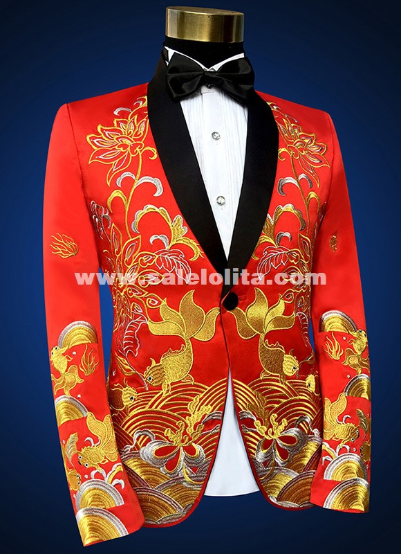 Gold Embroidery Mens Black/Red Wedding Suit Jacket Fashion Slim Totem Embroidered Formal Party Prom Men Suit Blazers