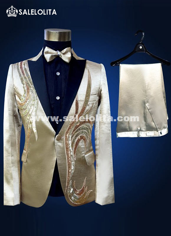 Men Set Suits Singers Stage Show Sequins Suit Embroidered Flower Champagne Wedding Mens Suit